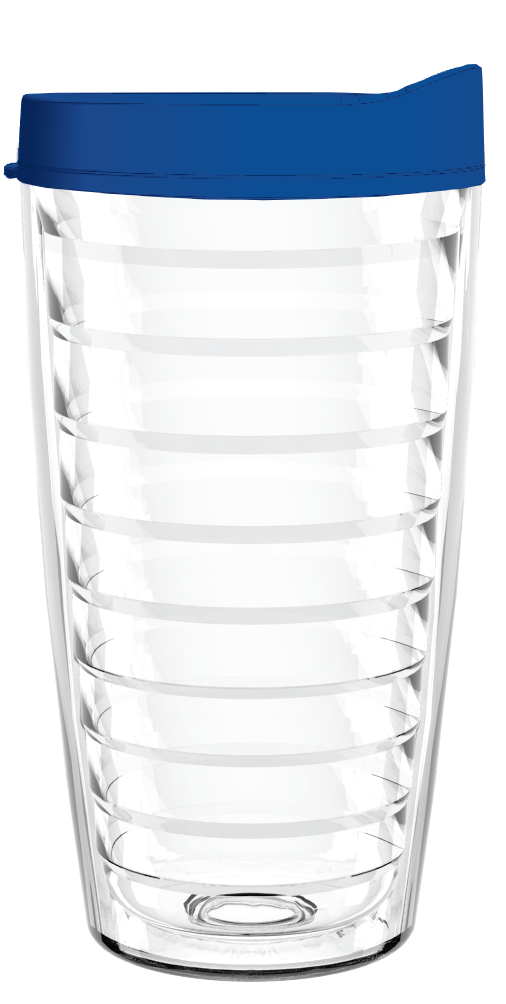 Clear Blue Lid 16oz Tumbler, Tumbler - Smile Drinkware USA