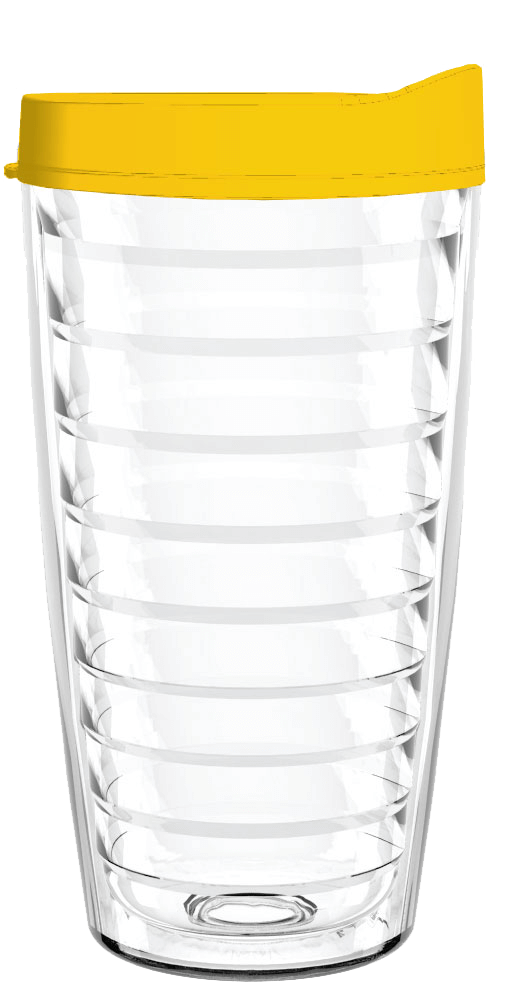 Clear Yellow Lid 16oz Tumbler, Tumbler - Smile Drinkware USA