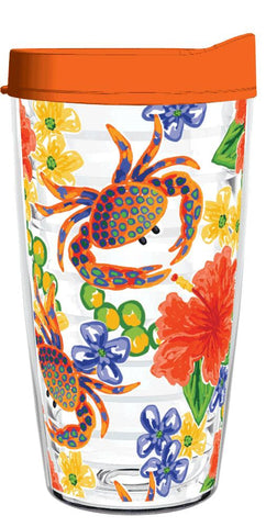 Crabs Hibiscus Clear Wrap Tracey Gurley 16oz Tumbler