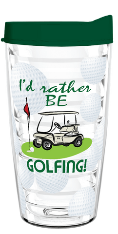 Id Rather Be Golfing Clear 16oz Tumbler - Smile Drinkware USA
