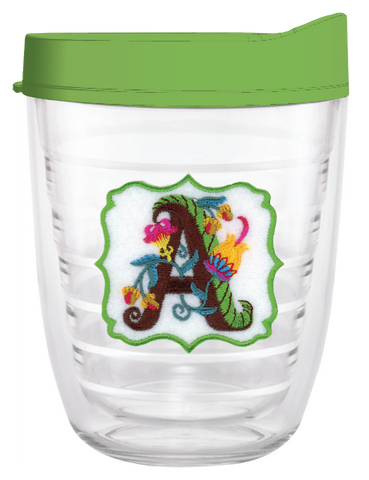 Jacobian Floral Initial Monogram Letters - 12oz Tumblers