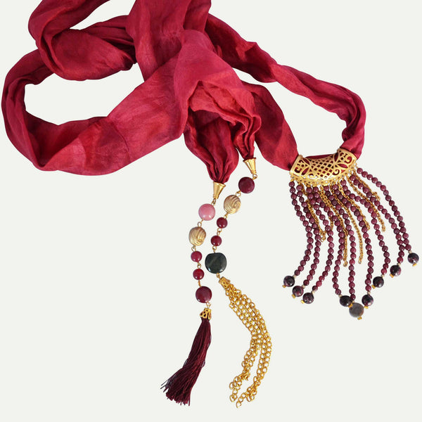 Turkish Silk Necklace in Maroon - Naadz Jewelers