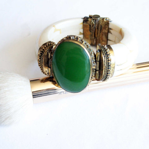 Tribal Green Agate Boho Cuff - Naadz Jewelers