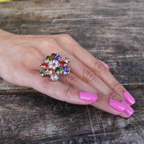 Rhinestone Flower Ring - Size 7
