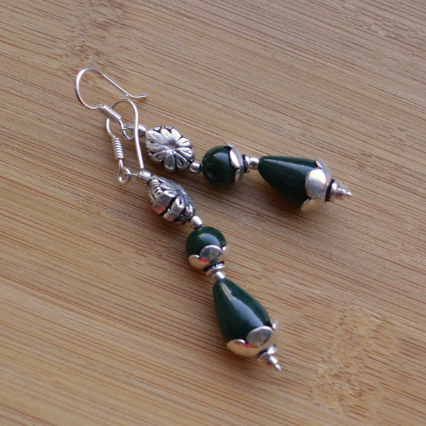 Green Agate Flirty Earrings - Naadz Jewelers