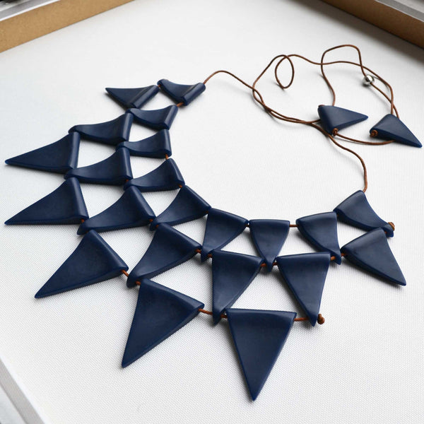 Charcoal Spike Statement Necklace