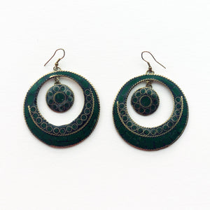 Earth-toned Bohemian Hoop Earrings