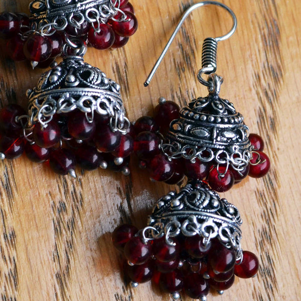 Double Layer Black Metal Jhumka Earrings in marsala wine - Naadz Jewelers