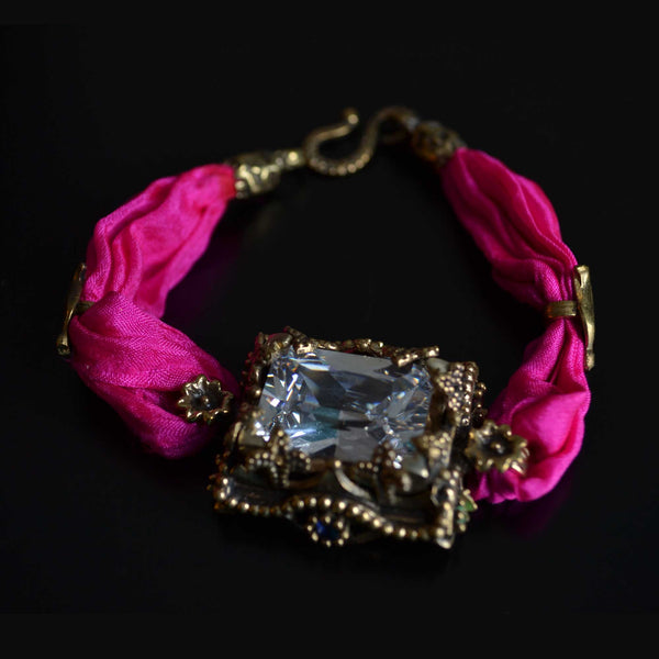 Hot Pink Silk Bracelet - Naadz Jewelers
