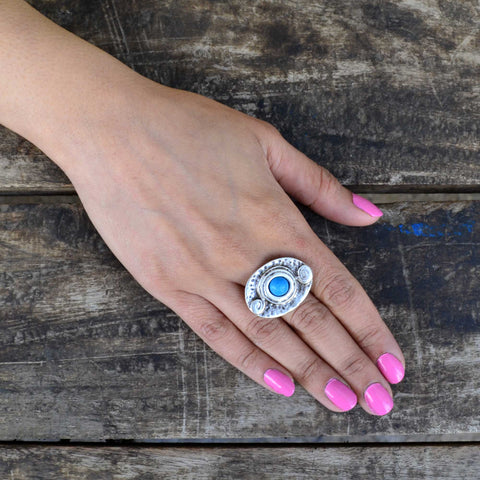 Evil Eye Ring - Adjustable Size