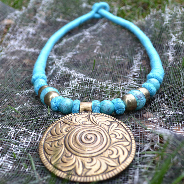 Tibetan Turquoise Threaded Necklace - Naadz Jewelers