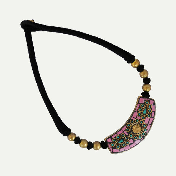 Tribal Threaded Pink Necklace - Naadz Jewelers