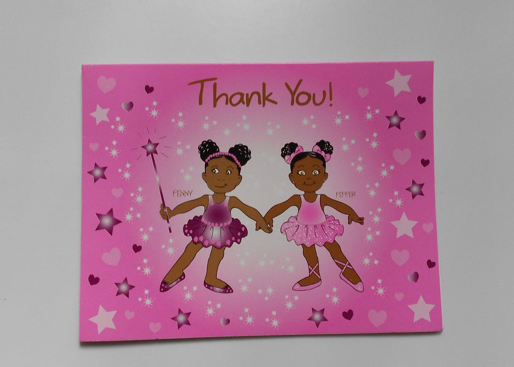 African American Ballerina Penny & Pepper Thank-You Notes-8ct