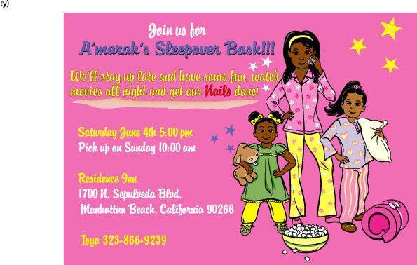 Slumber Party Customize Invitations