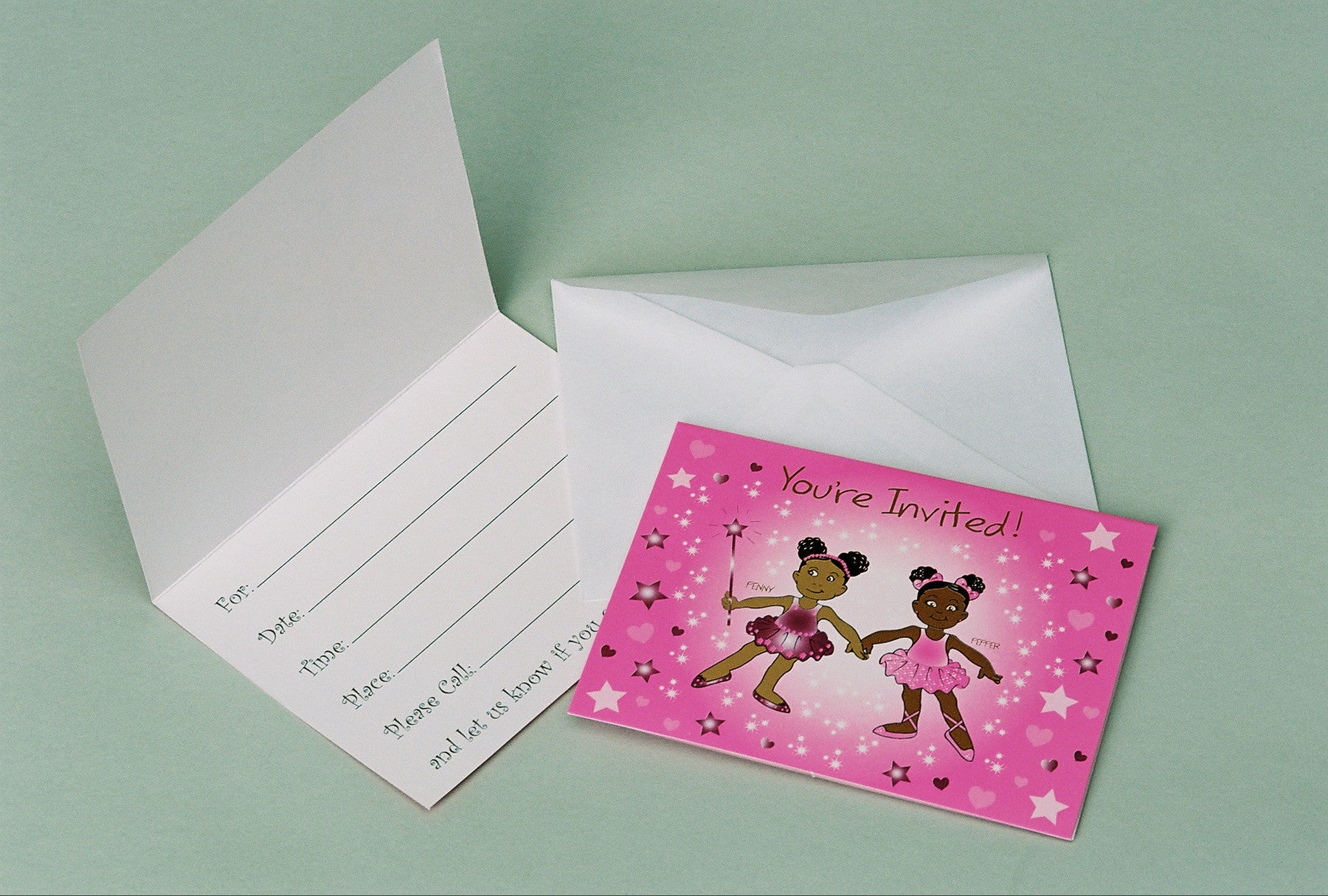 African Amerinca Ballerina Penny & Pepper Party Invites-8ct