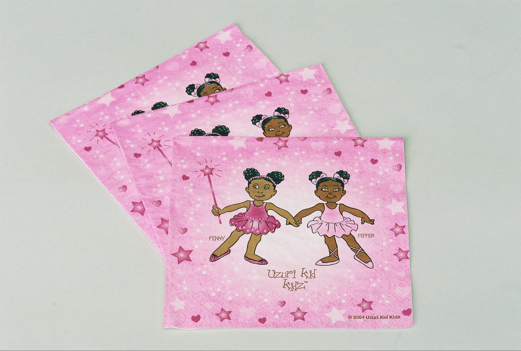 African American Ballerina Penny & Pepper Luncheon Napkins -16ct