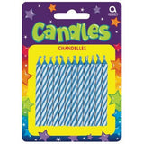 Candy Stripe Blue Birthday Candles