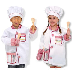 Chef Jacket, Cloth Chef's Hat & Wooden Spoons-1count