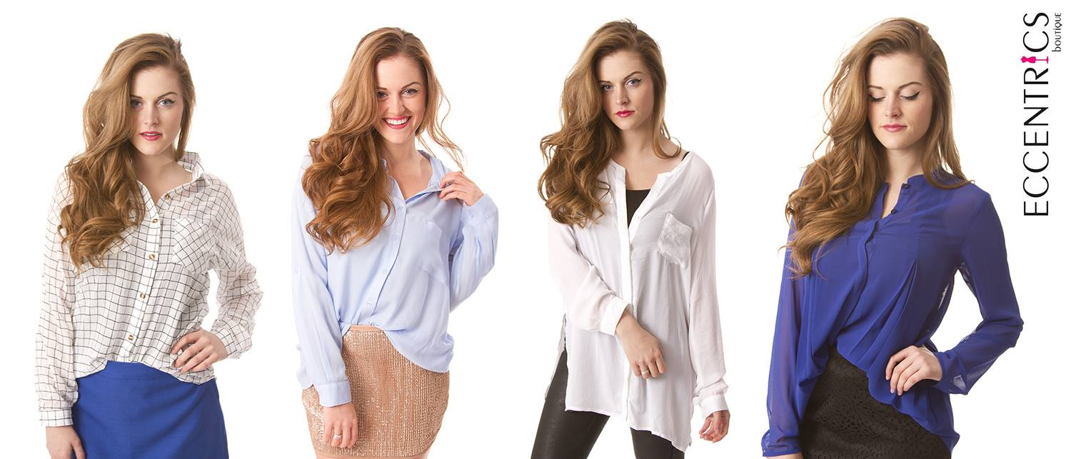 Women's button down blouses for the work day.