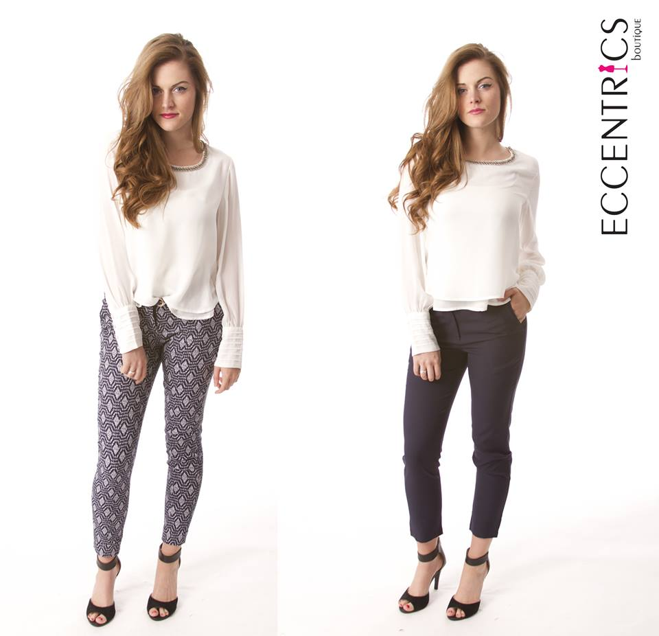 Women's printed ankle length pants for career wear.