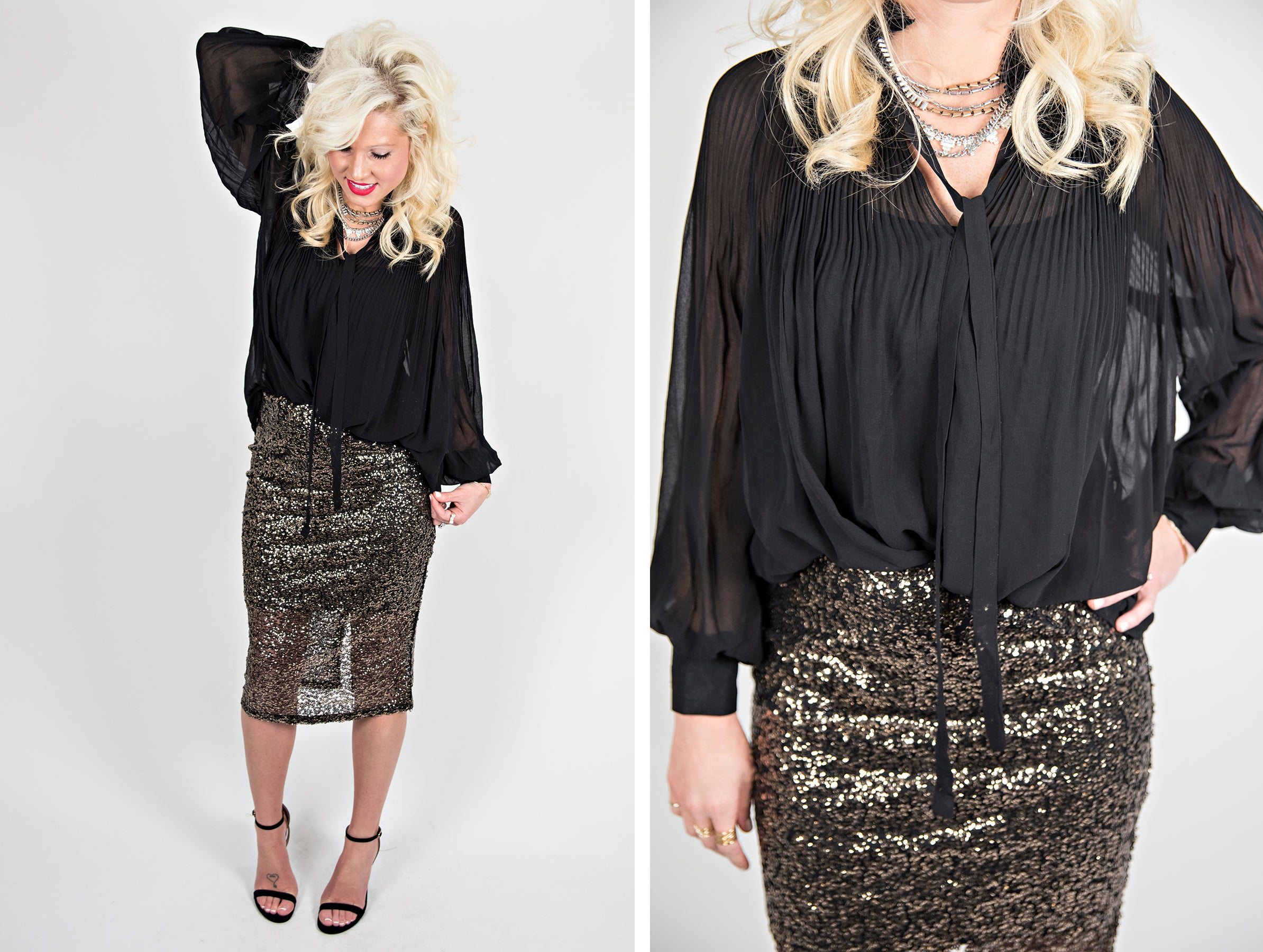 gold sequin pencil skirt and black chiffon blouse with necktie.