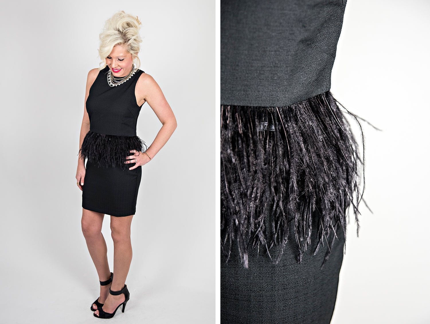 Black peplum dress with feathers.