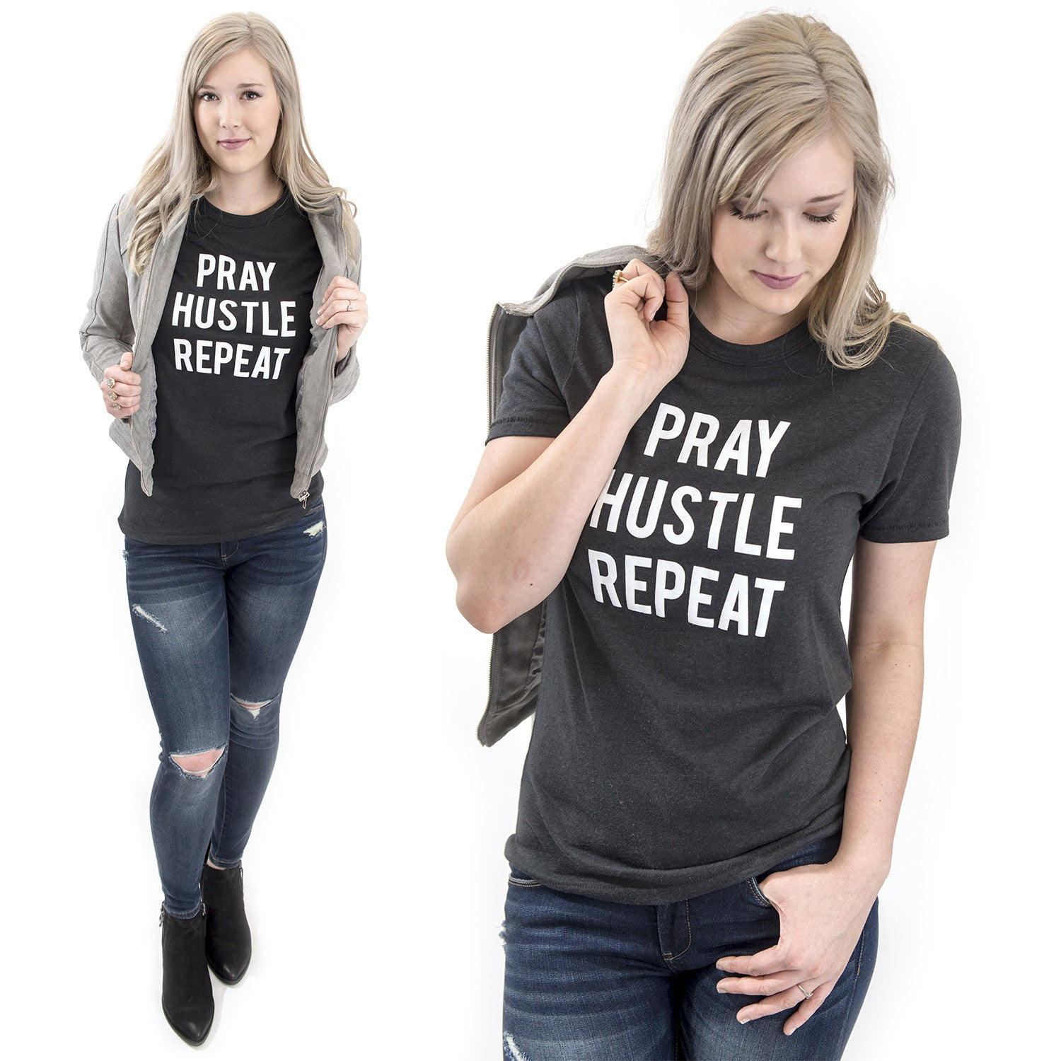 Pray Hustle Repeat Christian graphic tee at Eccentrics Boutique