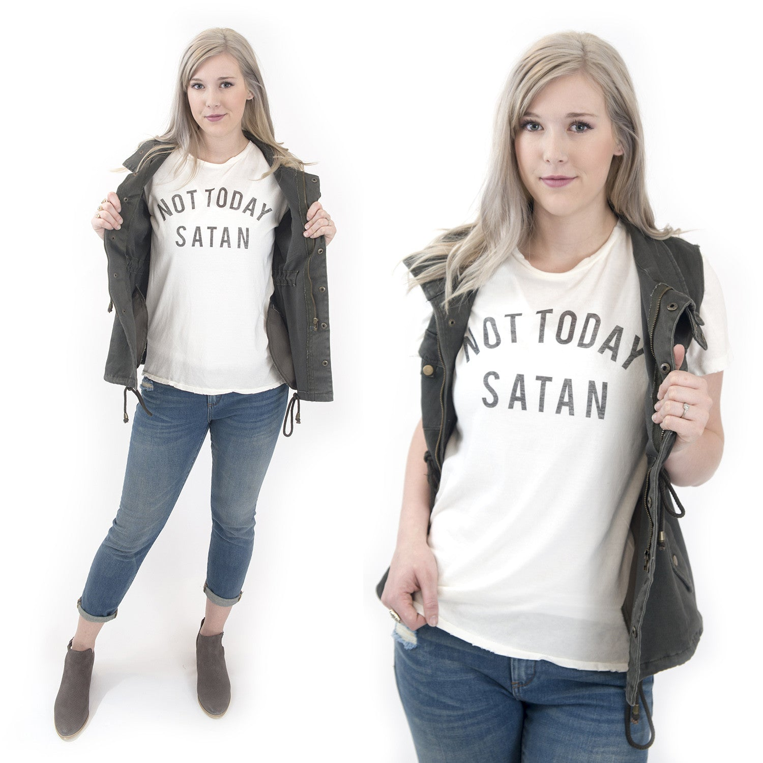 not today satan christian graphic tee at Eccentrics Boutique