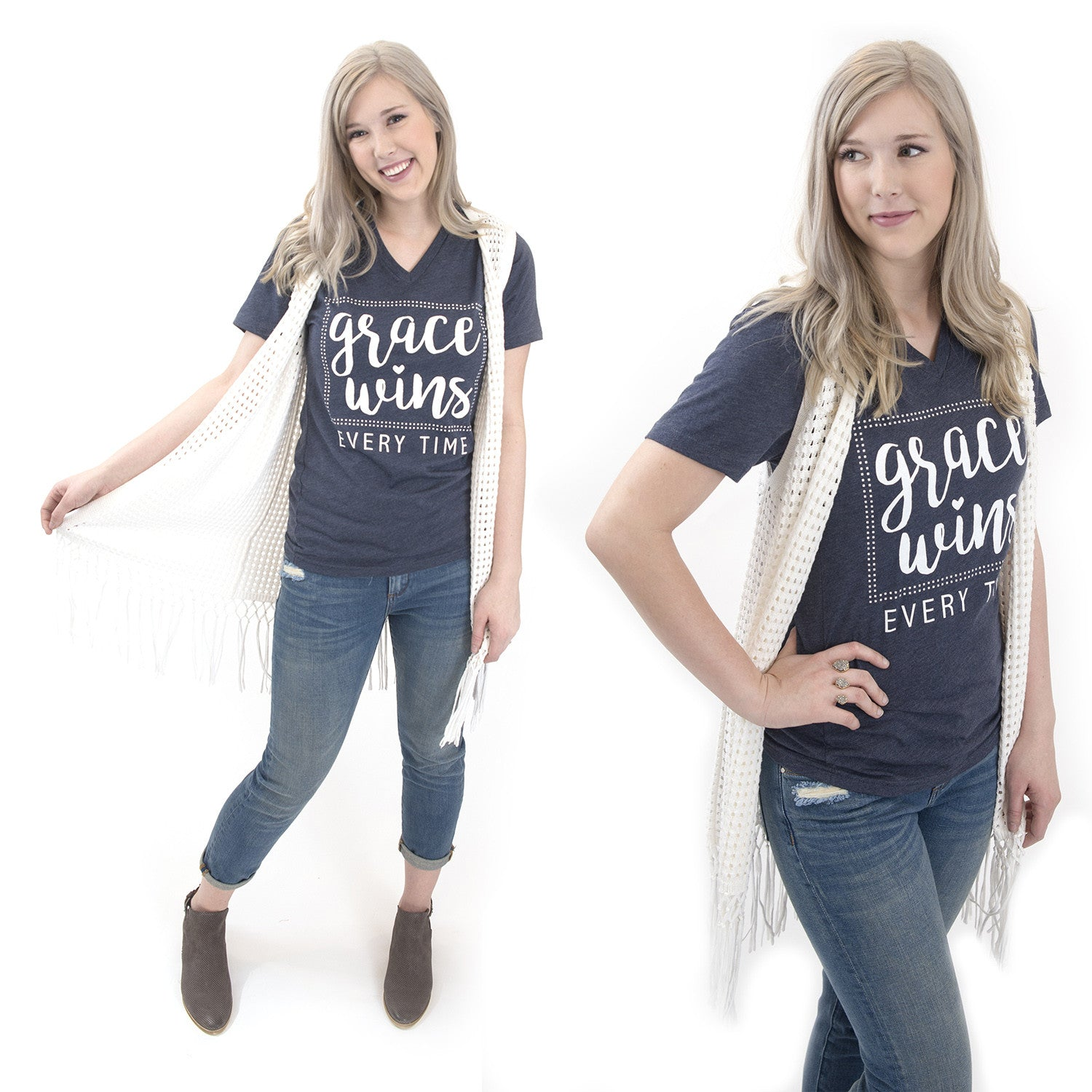 Graces Wins Every Time Christian graphic tee at Eccentrics Boutique