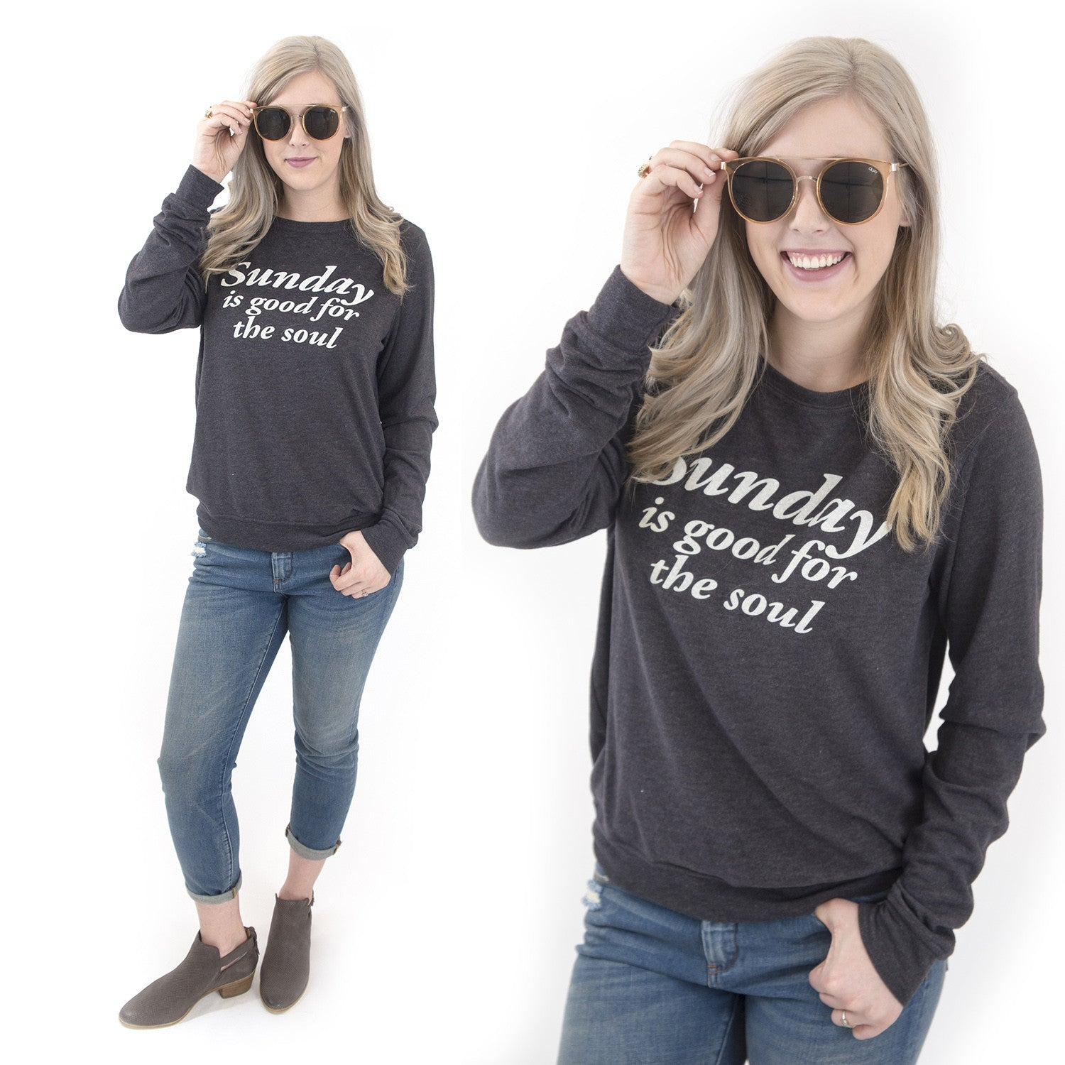 Sundays are good for the soul Christian graphic sweatshirt at Eccentrics Boutique