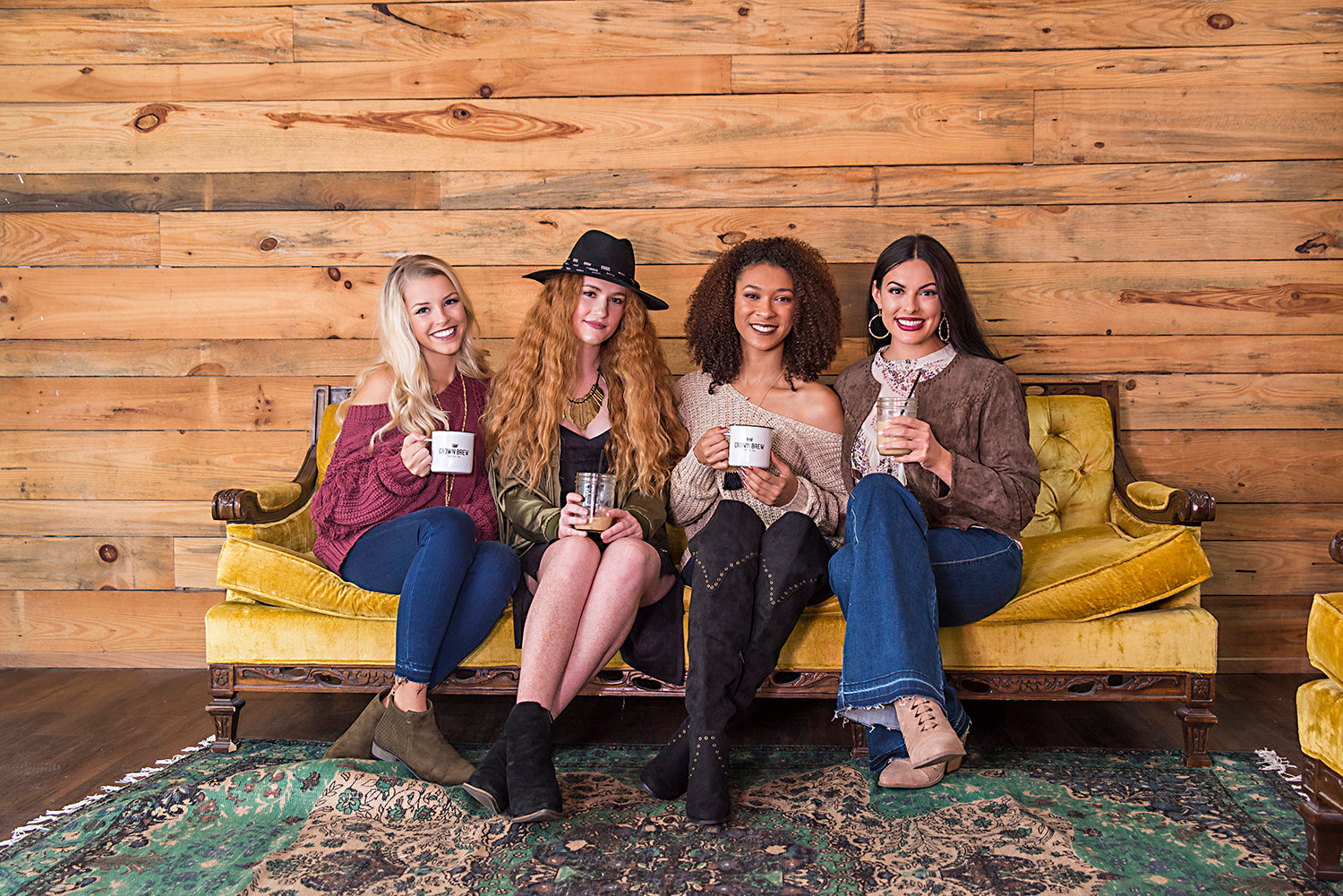 Eccentrics Boutique models at Crown Brew Coffee Company in Carterville, Illinois. Trendiest businesses in Southern Illinois.