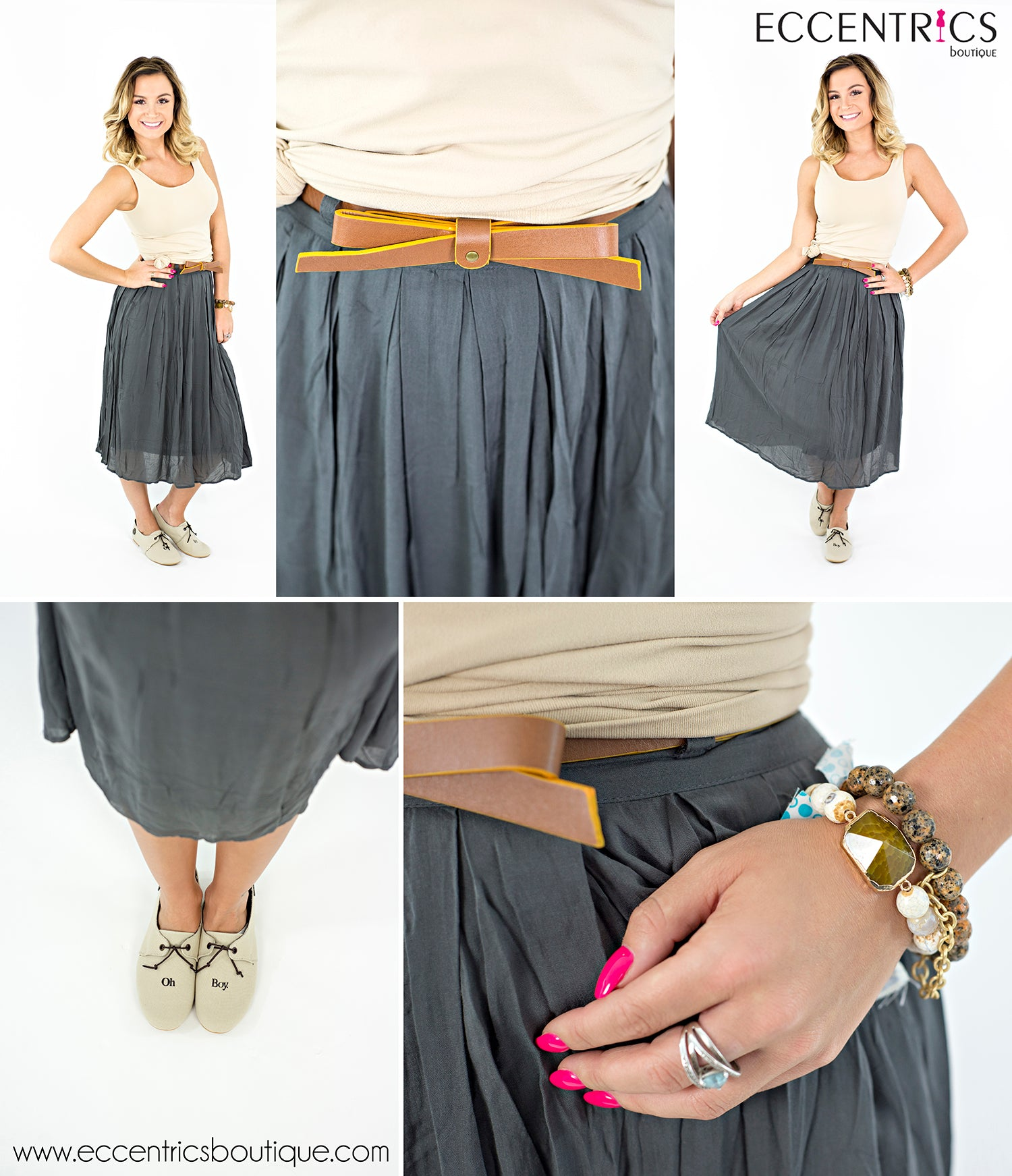 how to wear a grey skirt