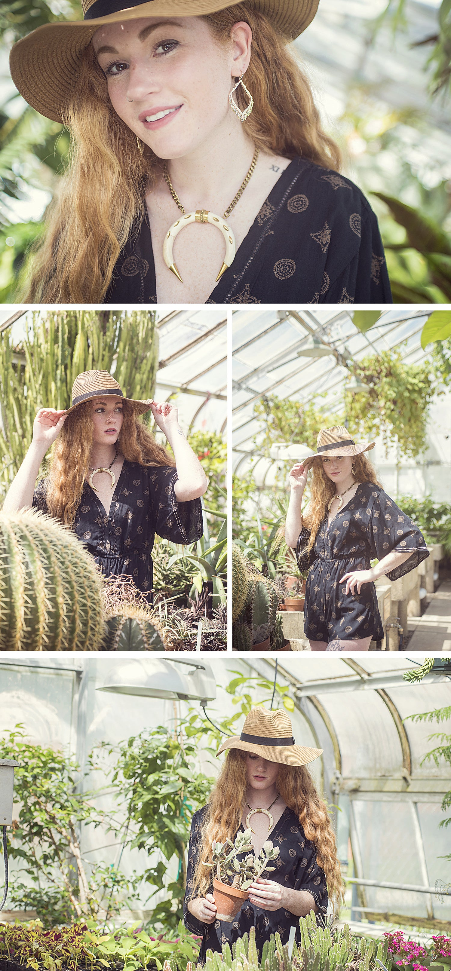 amuse society romper on model in cactus filled greenhouse