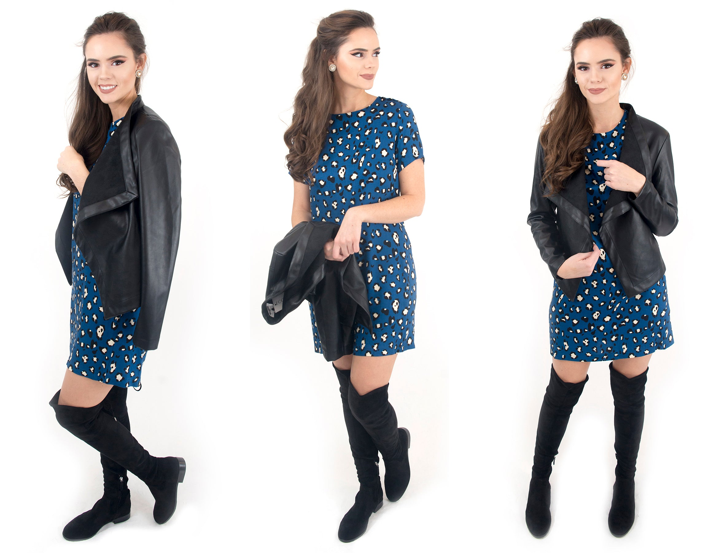 women's blue leopard print dress at Eccentrics Boutique