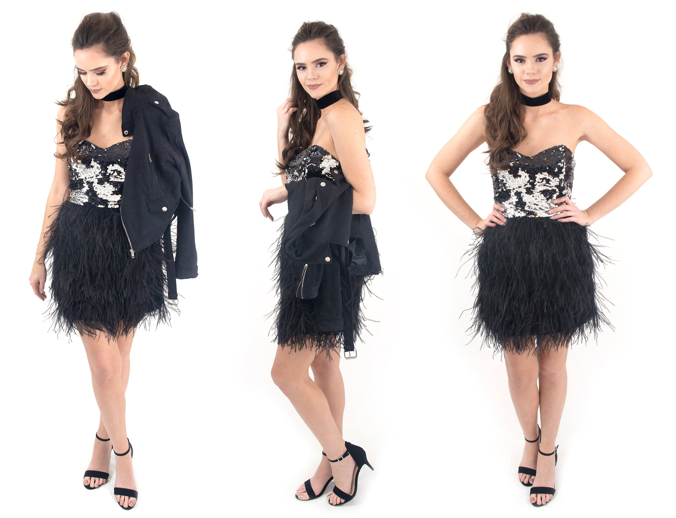 Black feather skirt dress with sequin bodice at Eccentrics Boutique