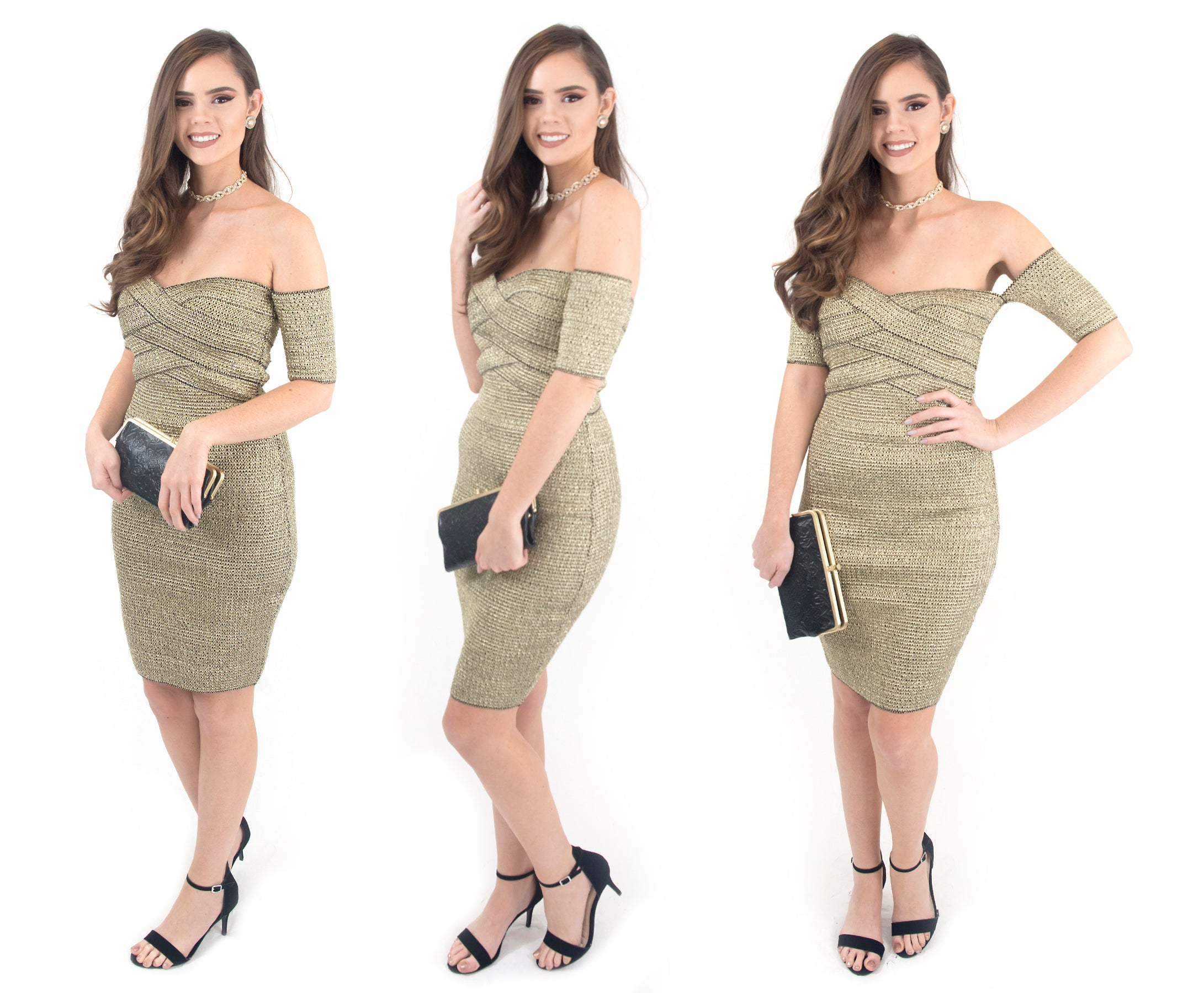 women's gold off the shoulder holiday dress at eccentrics boutique