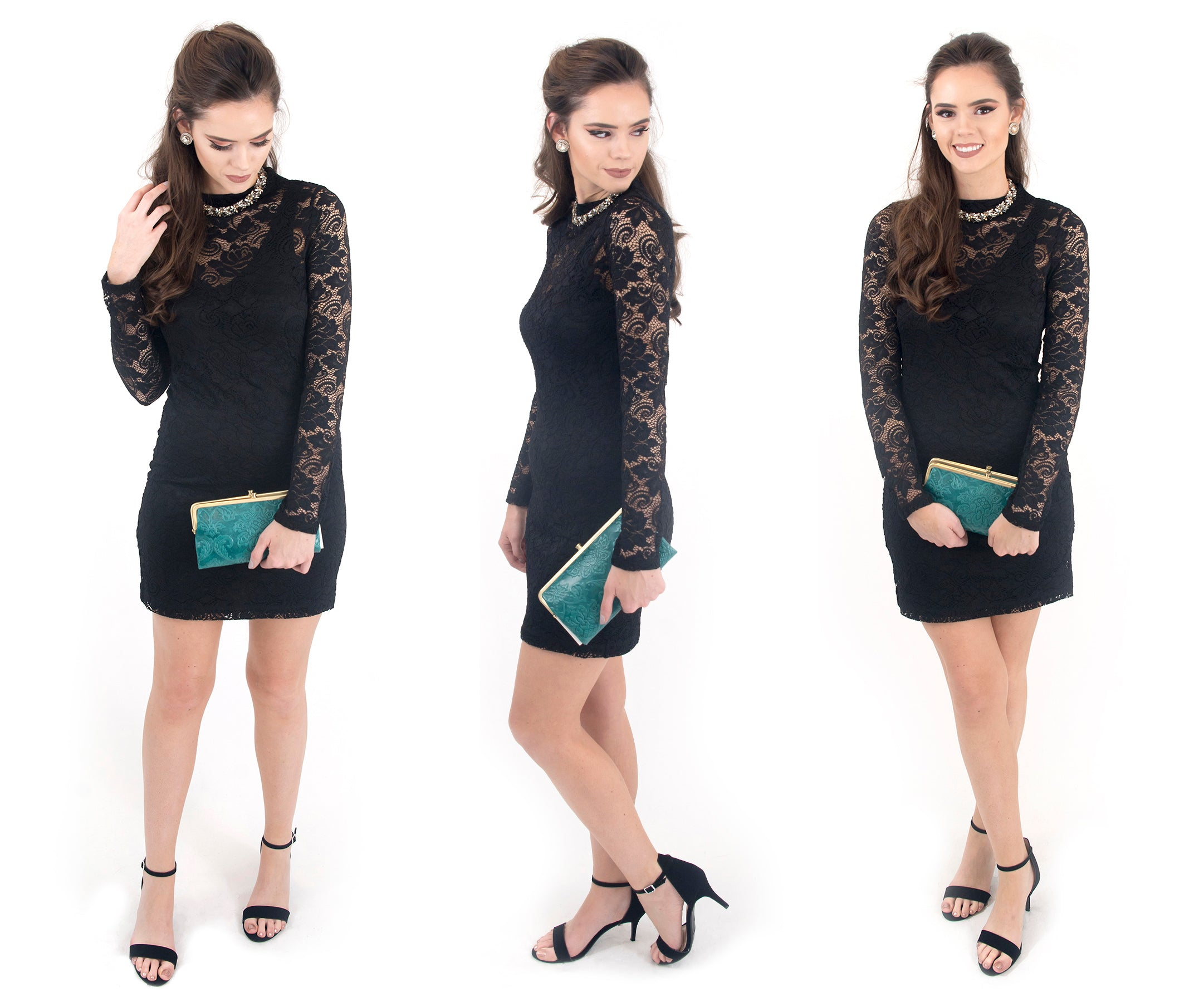 Shop women's BCBGeneration lace mock neck little black dress at eccentrics boutique.