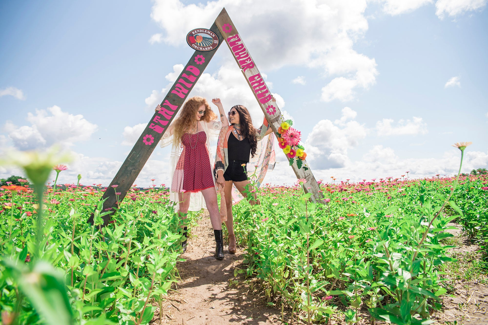 Rendleman Orchards zinnia flower field fashion photo shoot