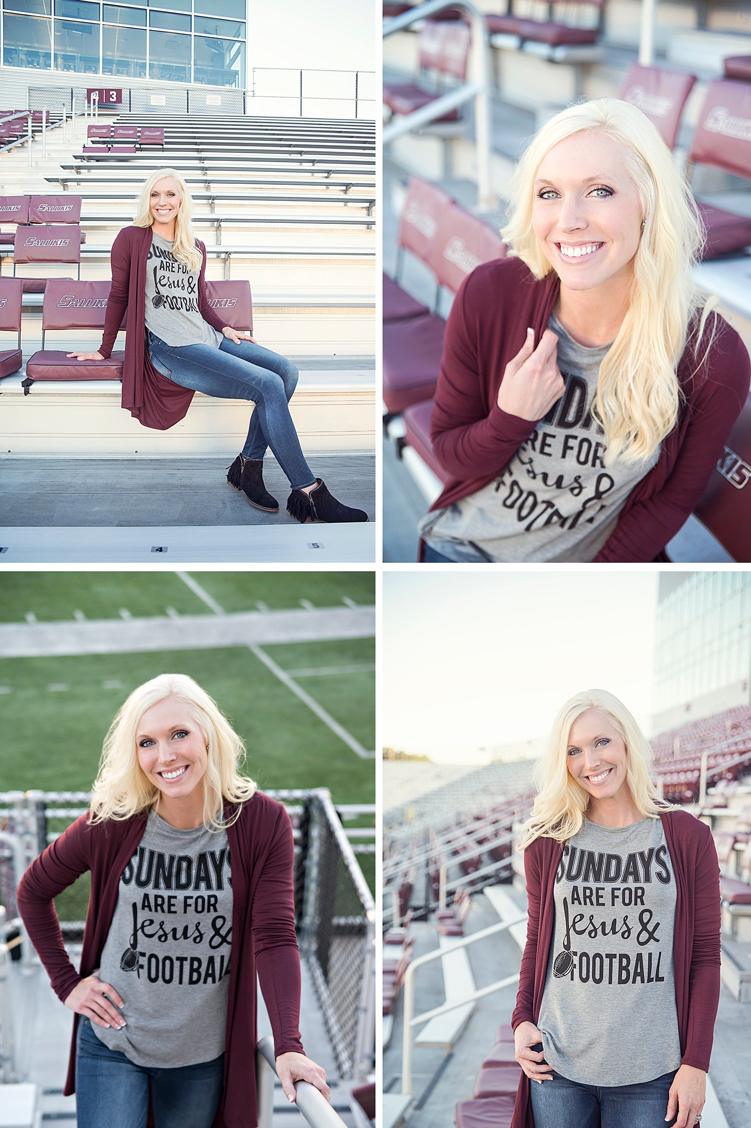 Grey Sunday Football Women's tee with maroon long sleeve open cardigan and distressed denim at Eccentrics Boutique