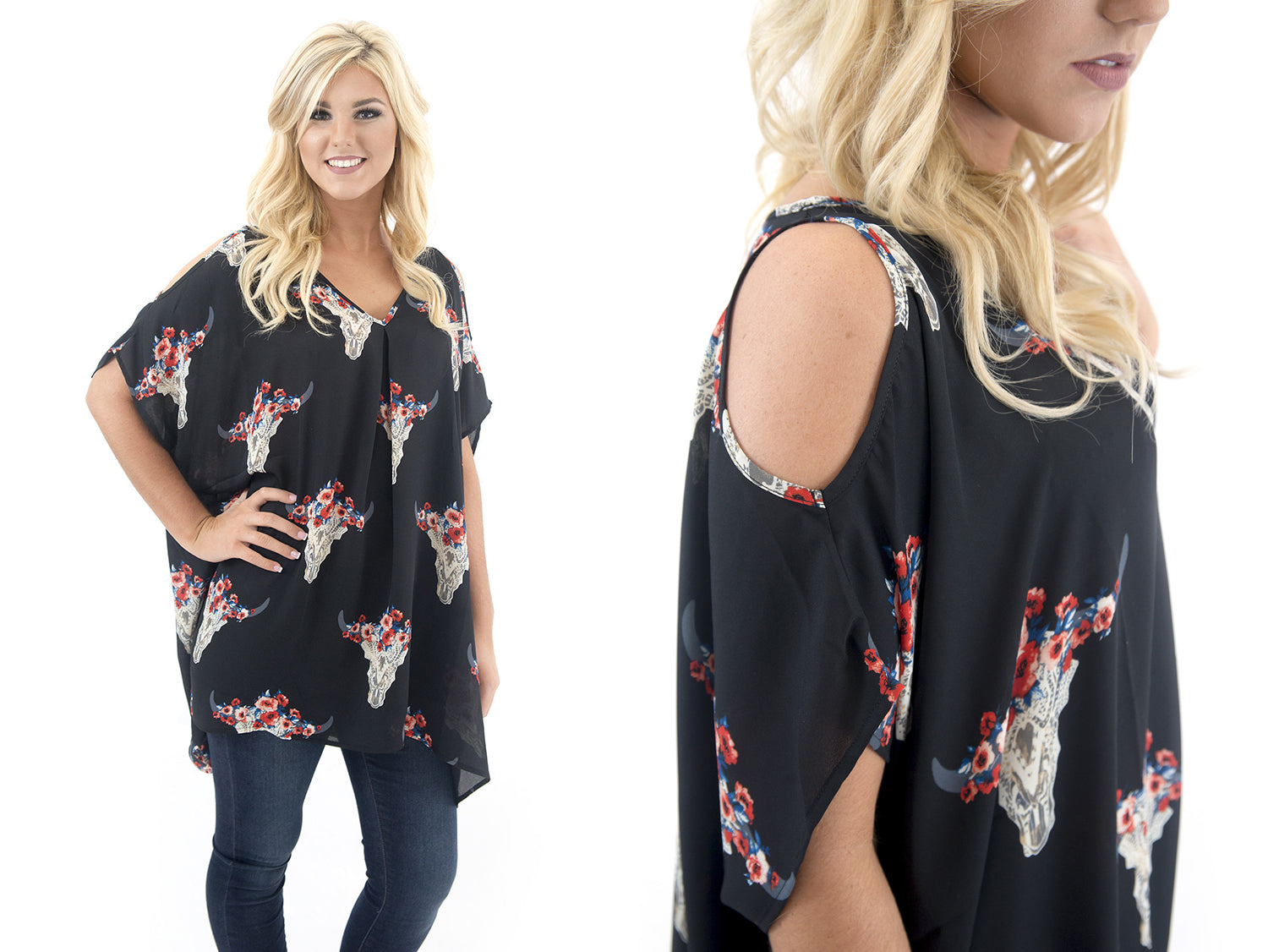 western skull and flower print cold shoulder tunic at Eccentrics Boutique
