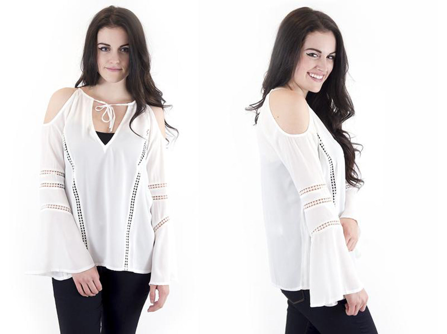 white peasant cold shoulder blouse with bell sleeves at Eccentrics Boutique