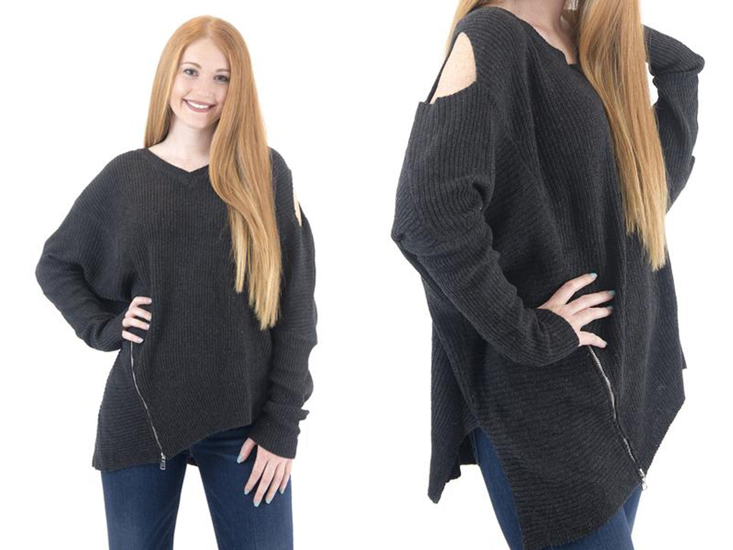 long sleeve cold shoulder oversized sweater with side zipper detail at Eccentrics Boutique