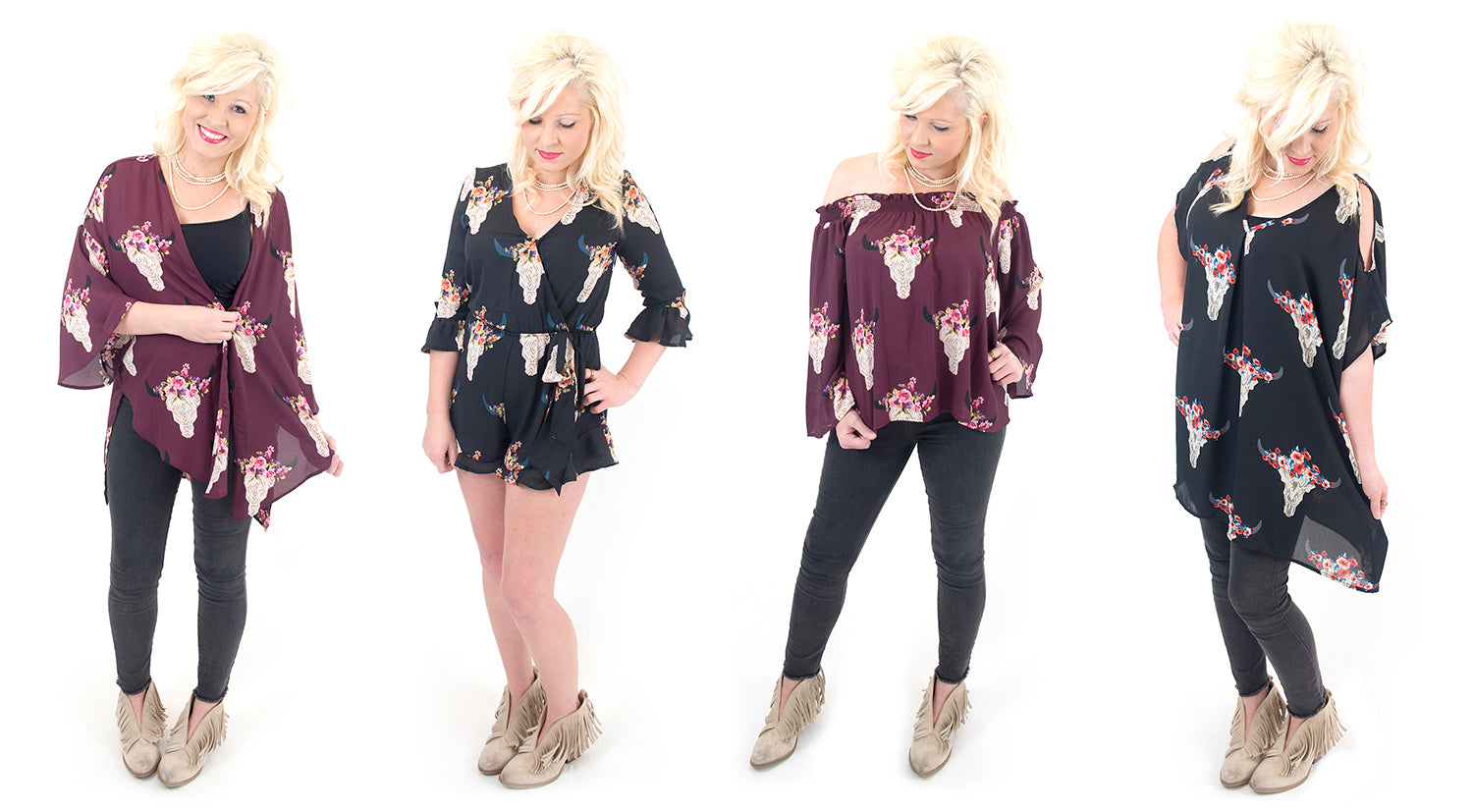 Lauren's favorite fall trend is bullhead floral print romper, kimono, off the shoulder top and tunic