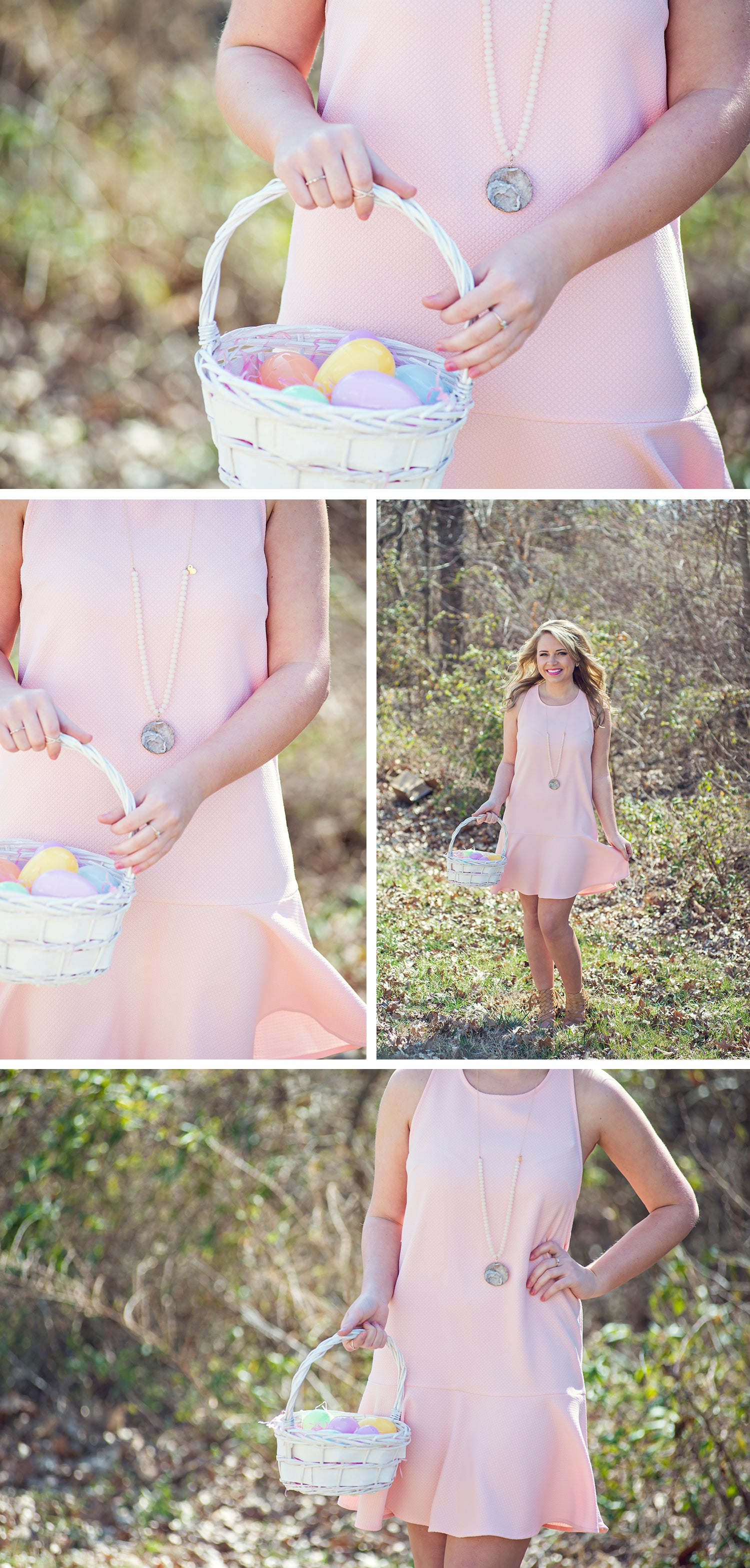Women's pink flare bottom Easter dress at Eccentrics Boutique