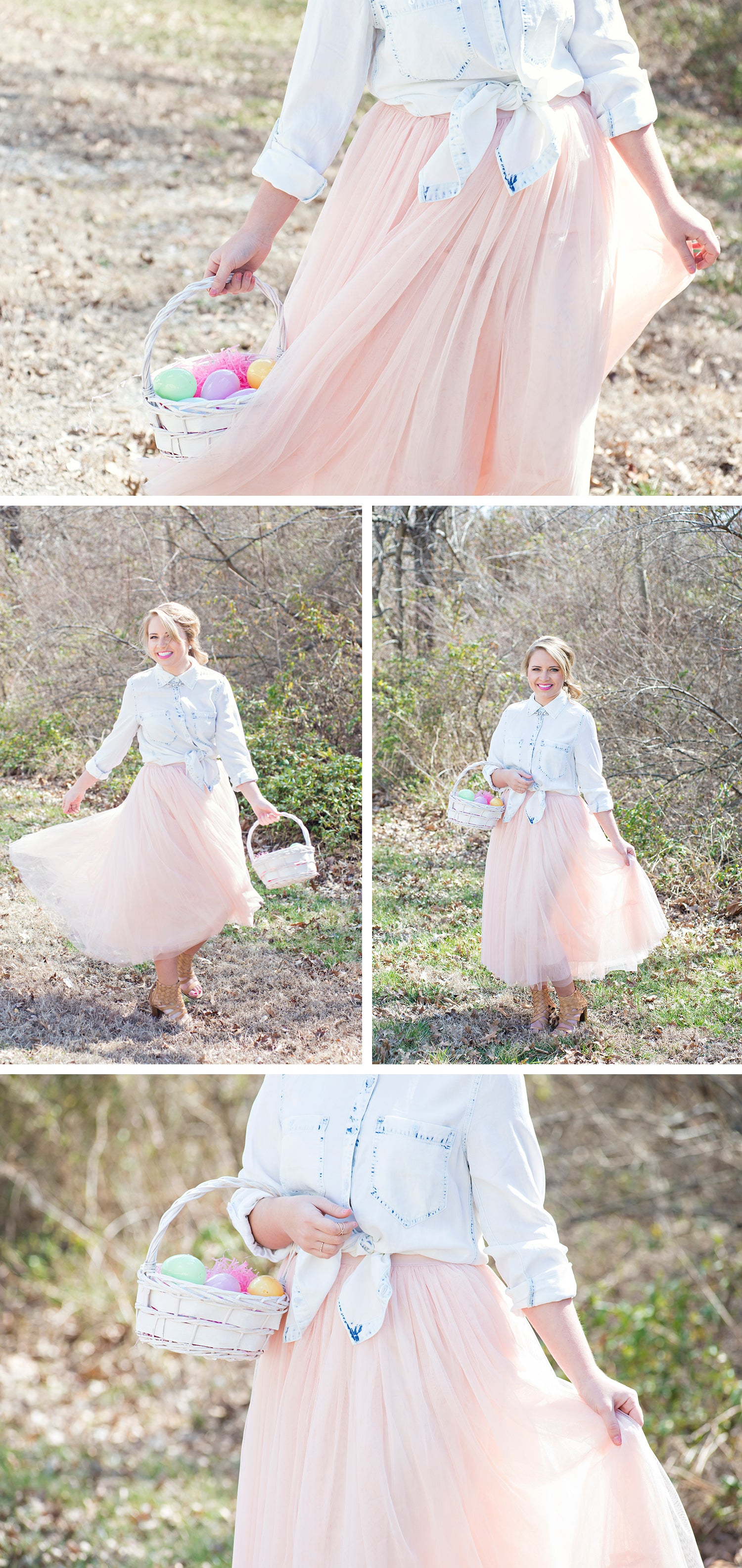 Pink tulle skirt and denim top for Easter at Eccentrics Boutique