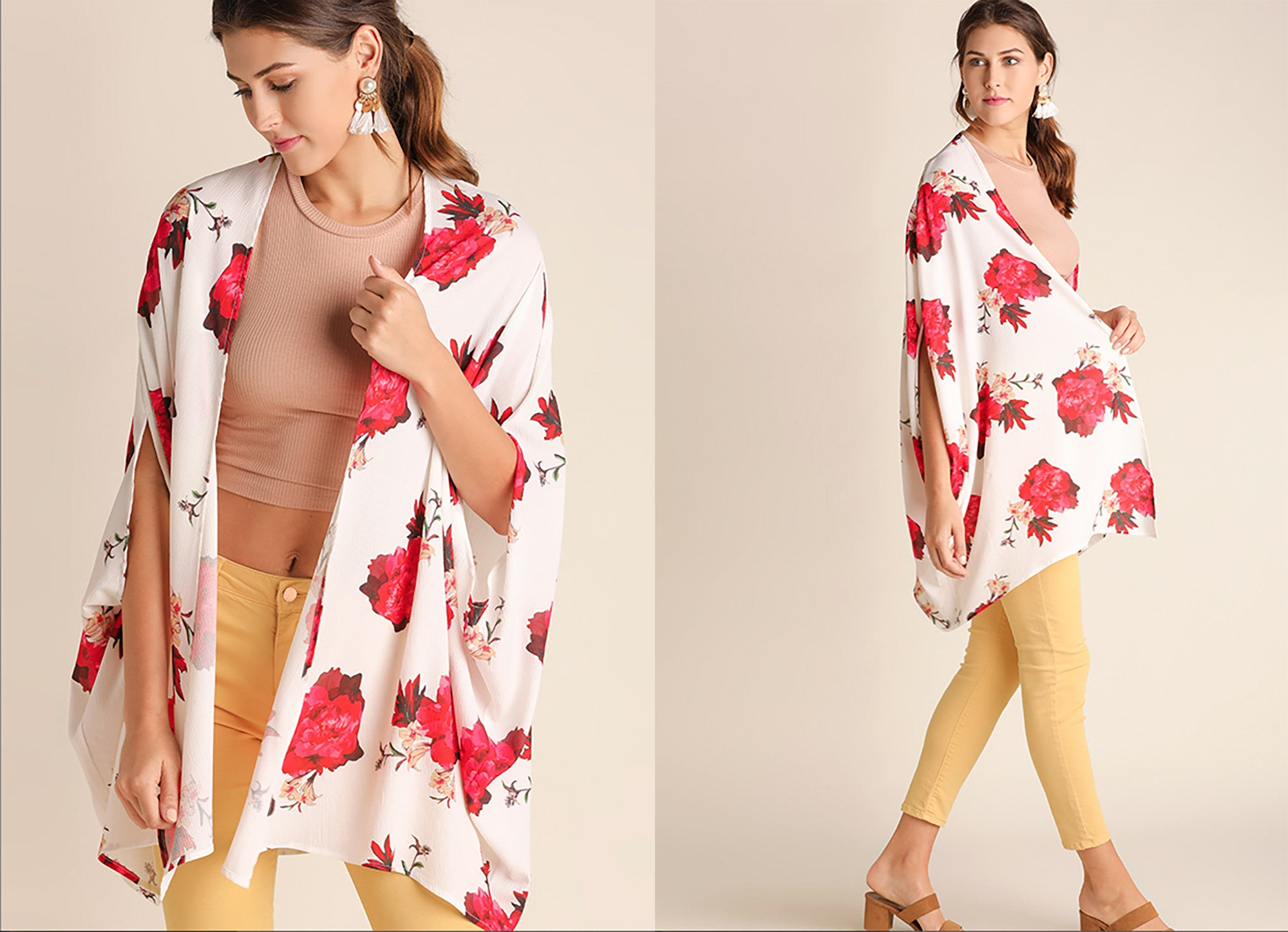Women's floral print kimono at Eccentrics Boutique. Affordable women's clothing boutique.
