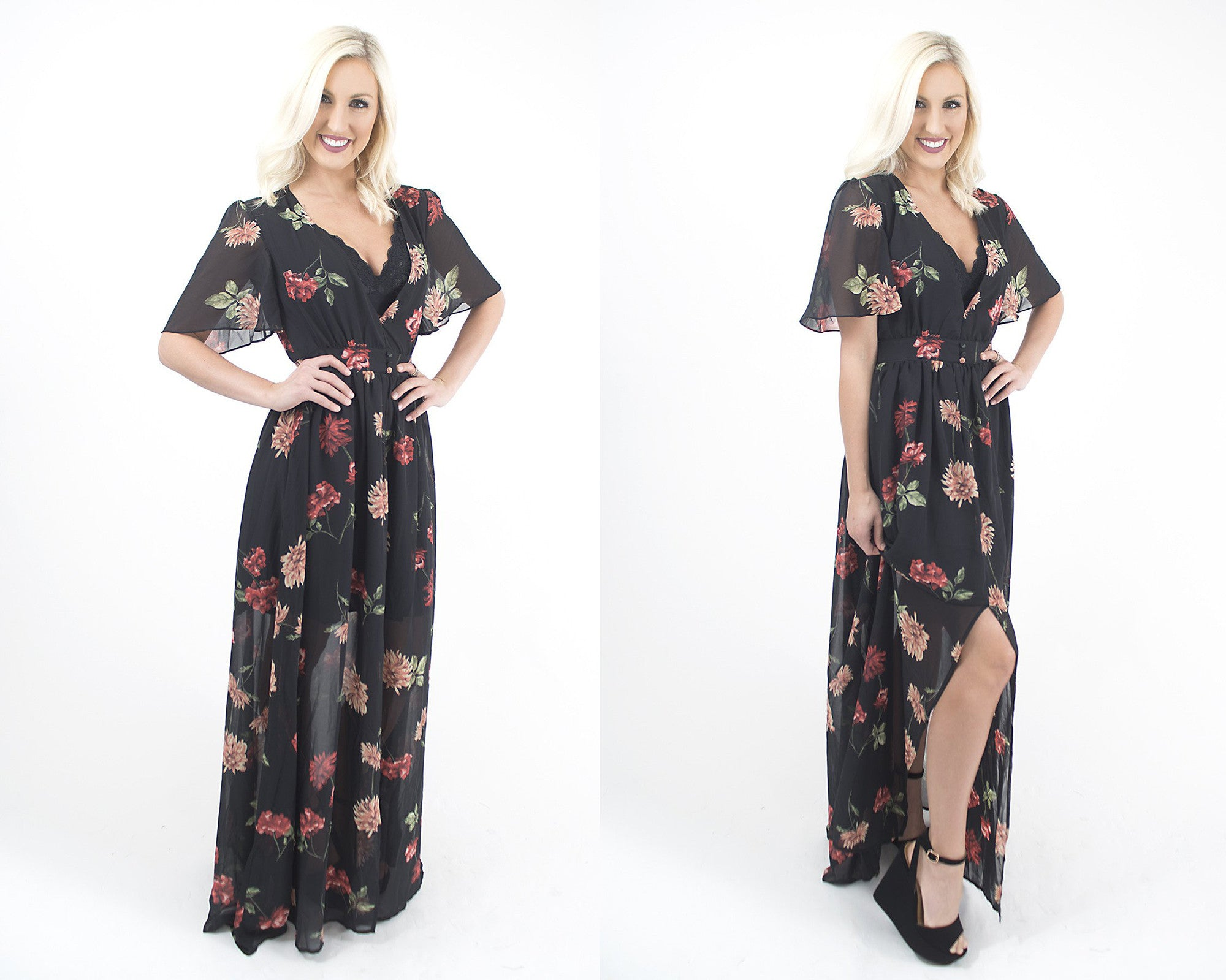 Women's floral maxi dress at Eccentrics boutique. Affordable women's clothing boutique.