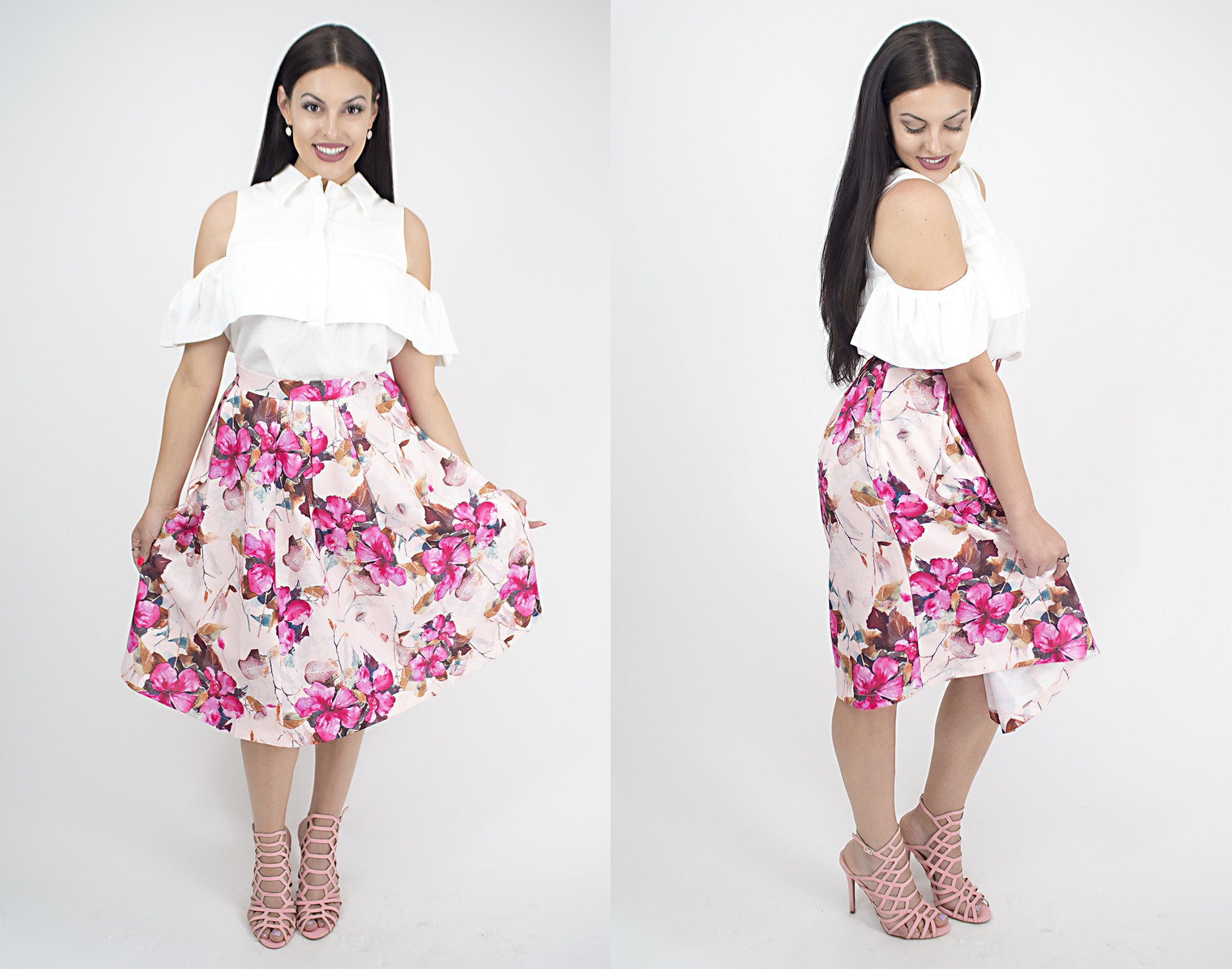 Women's floral midi skirt at Eccentrics Boutique. Affordable women's clothing boutique.
