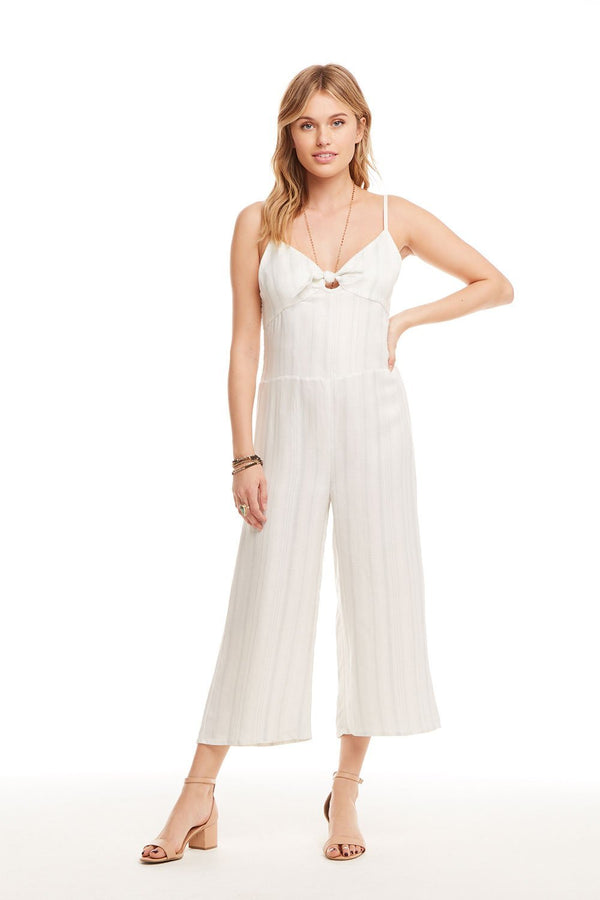 Chaser Brand Beachy Linen Tie Front Smocked Jumpsuit