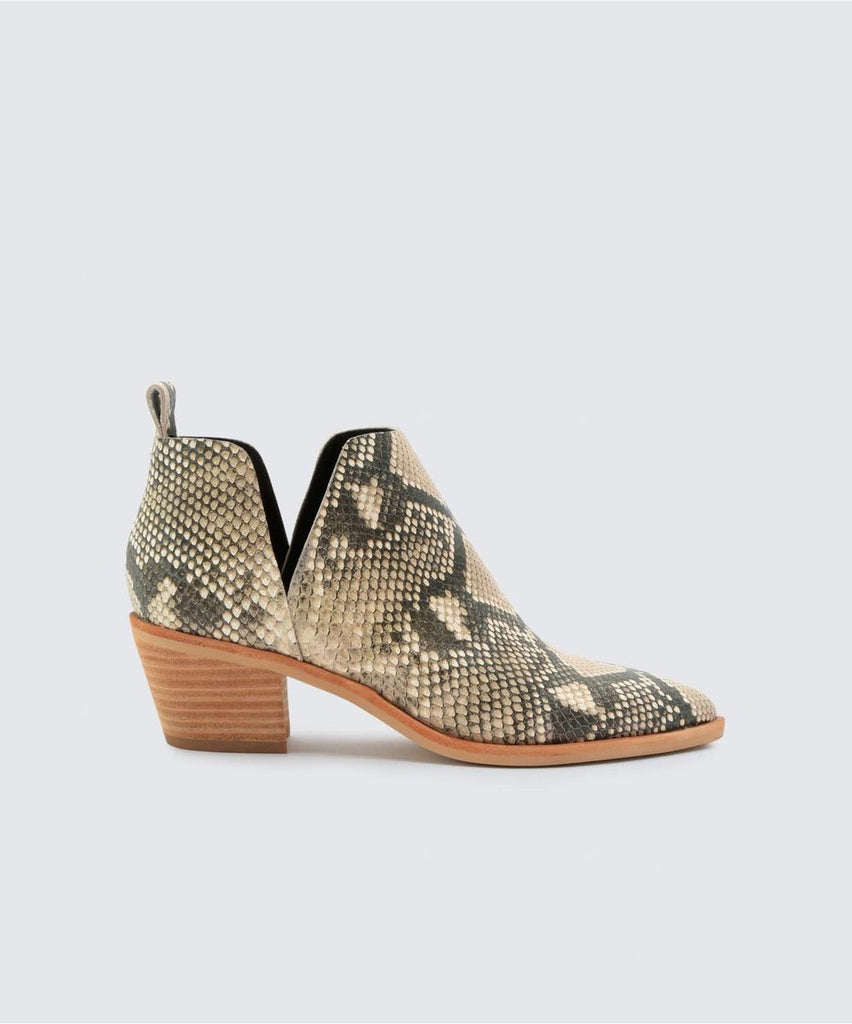 Women's Dolce Vita Sher Black/White Snakeskin Booties